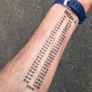 Negative Splits Half Marathon - Temporary Tatto Pace Chart
