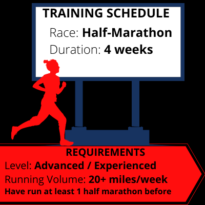 Half Marathon Training Schedule 4 week advanced