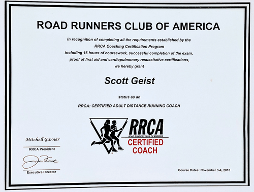 RRCA Certified Running Coach - Level 1 - November 2018 (In-Person)